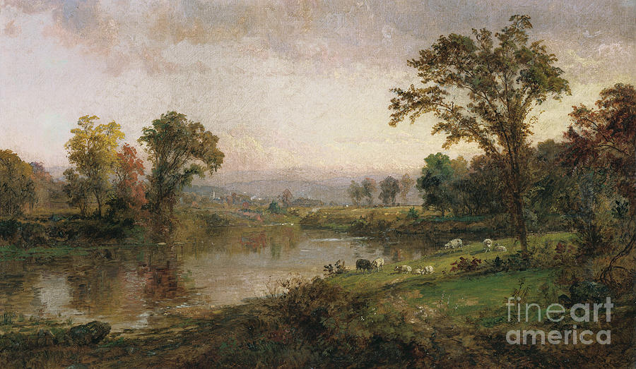 Grazing Painting - Riverscape In Early Autumn by Jasper Francis Cropsey