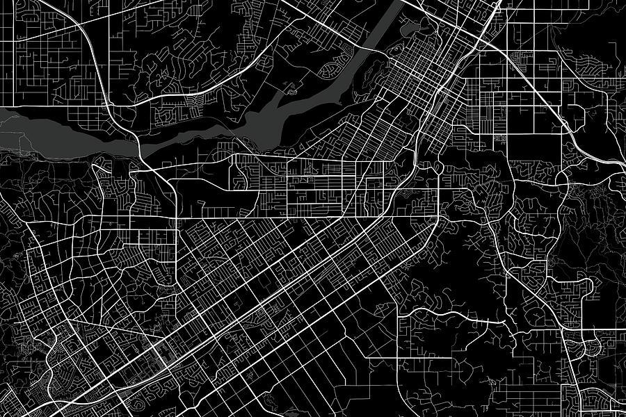 Riverside California Usa Dark Map
