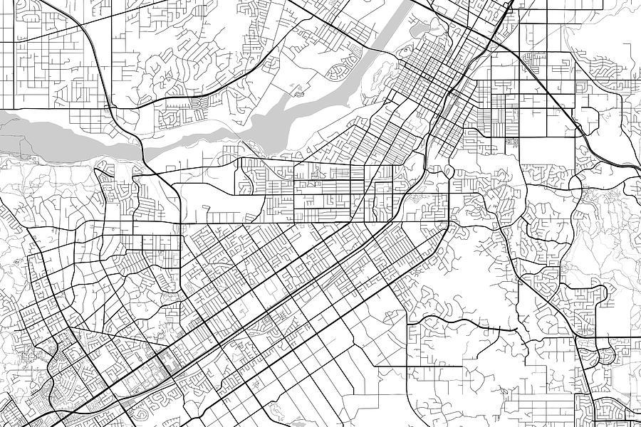 Riverside California Usa Light Map by Jurq Studio