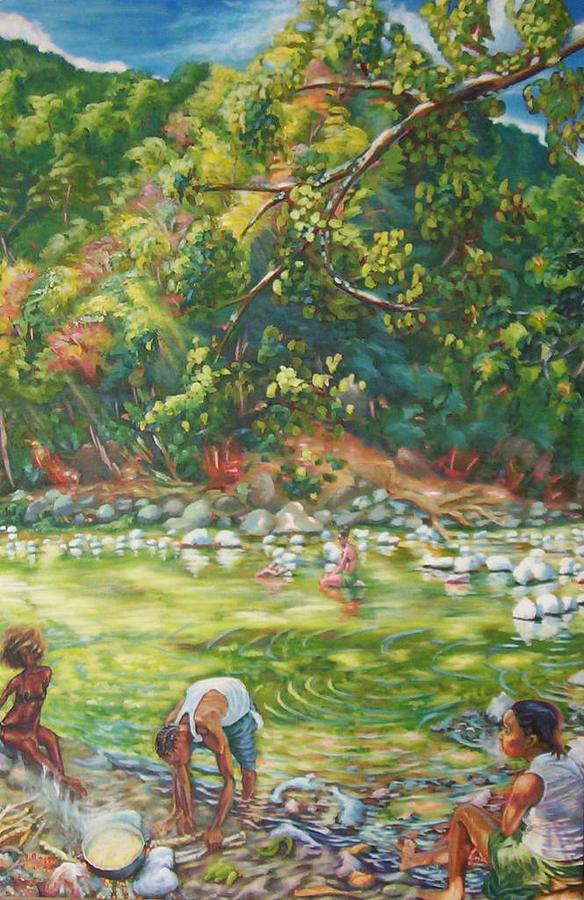 River Painting - Riverside Cookup by Lowell Royer