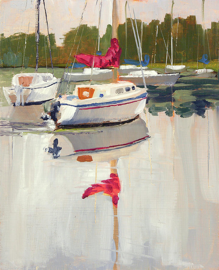 Plein Air Painting - Riverside Park Marina 2011 by Anthony Sell