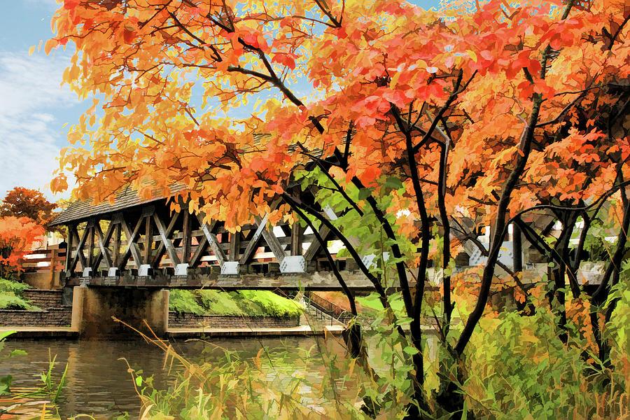 Naperville Painting - Riverwalk Covered Bridge by Christopher Arndt