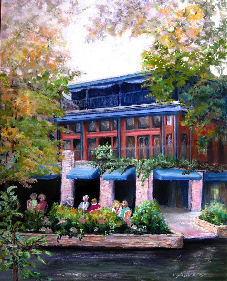Landscape Pastel - Riverwalk Lunch by Carole Haslock