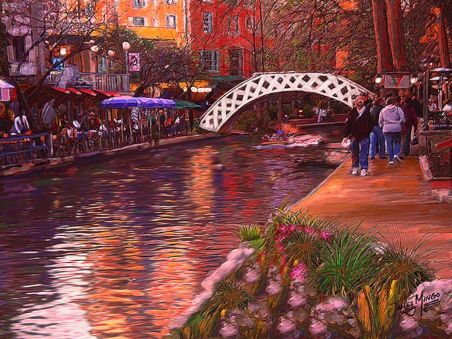 Riverwalk San Antonio Painting By James Mingo