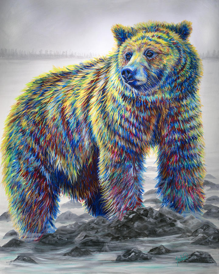 Grizzly Painting - Riverwalker by Teshia Art