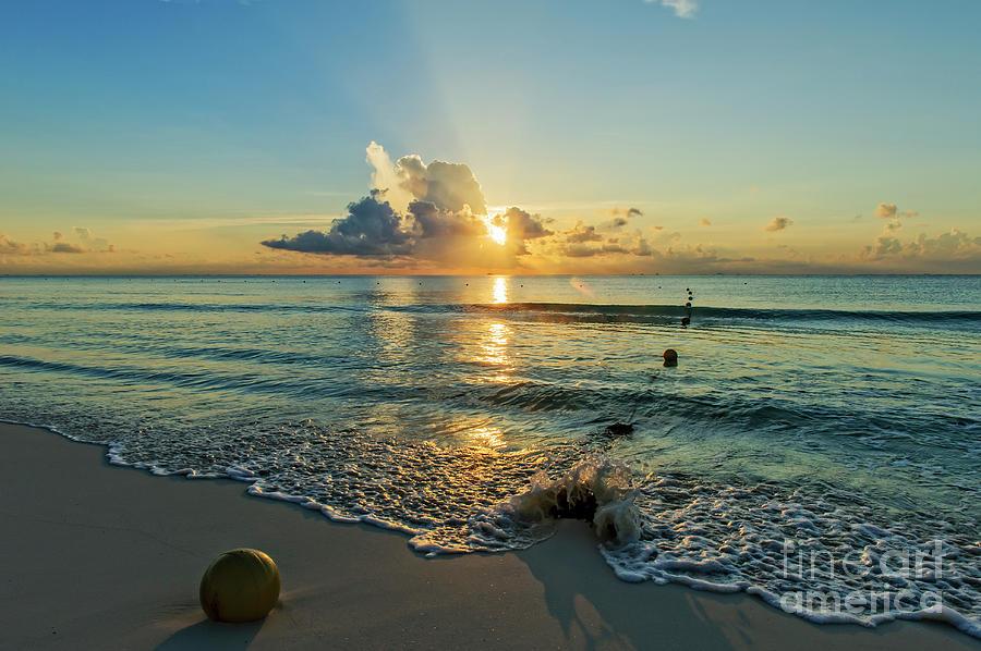 Beach Photograph - Riviera Maya Sunrise by Charles Dobbs