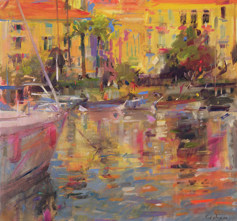 River Painting - Riviera Moorings  by Peter Graham