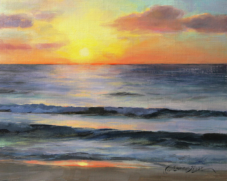 Riviera Maya Painting - Riviera Sunrise by Anna Rose Bain