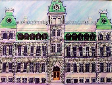 Rmc Mixed Media - Rmc Mackenzie Bldg Kingston On by Suzanne Berton