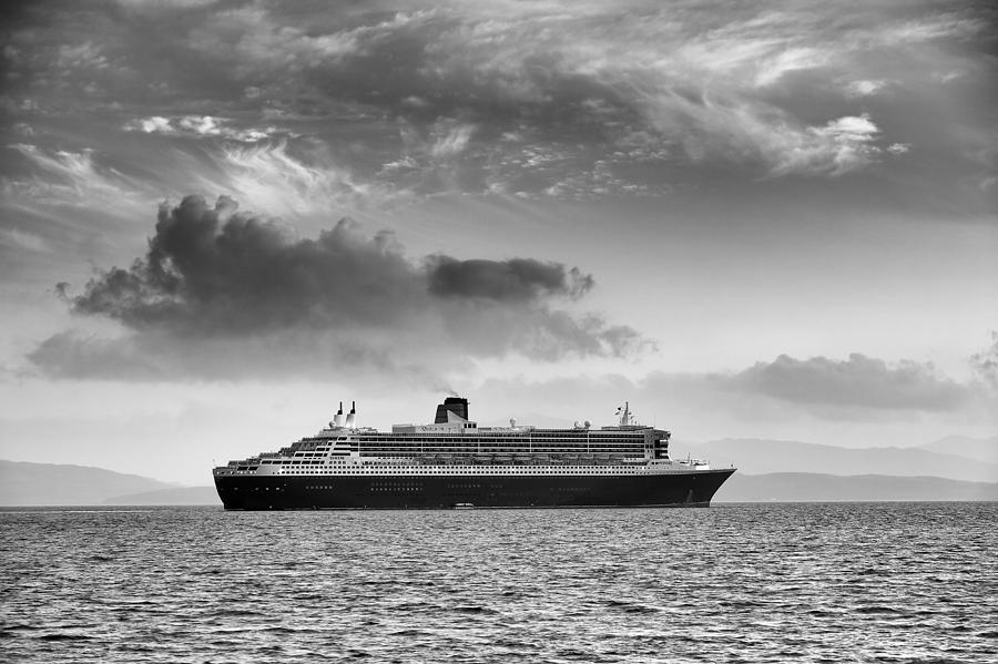 Ocean Liner Photograph - RMS Queen Mary 2 mono by Grant Glendinning