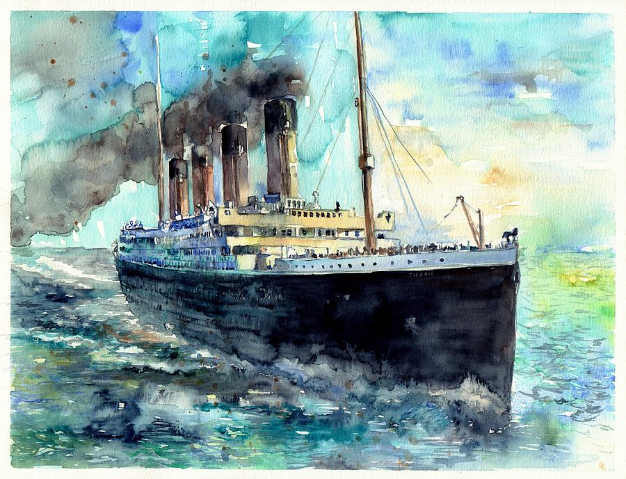 Rms Titanic White Star Line Ship Painting by Suzann\'s Art