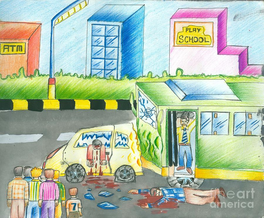 Road Rampage Painting - Road Accident by Tanmay Singh