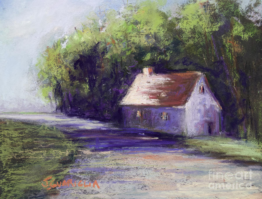 House Pastel - Road And House by Joyce A Guariglia