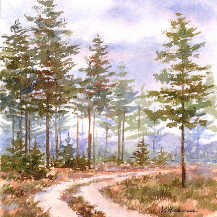 Landscape Painting - Road In The Forest by Varvara Harmon
