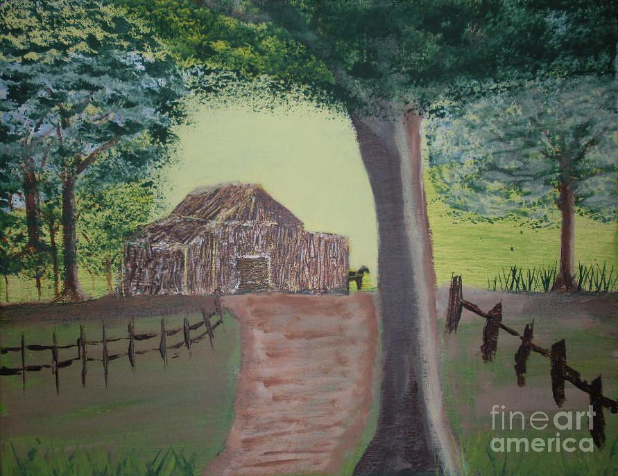 Acrylic Painting Painting - Road To Farm 501f by Shane Blasingame