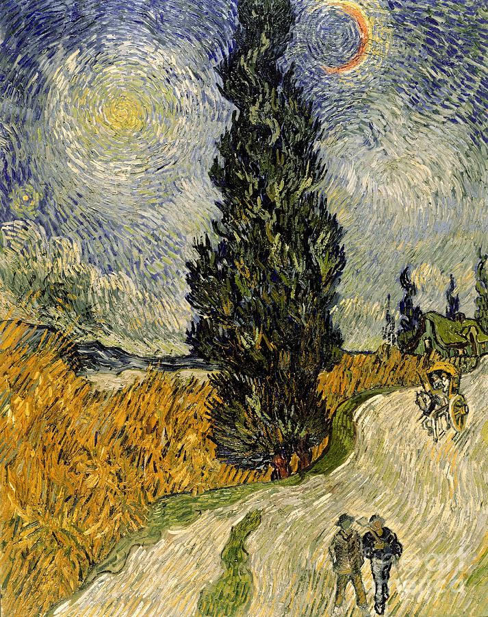 Road Painting - Road With Cypresses by Vincent Van Gogh