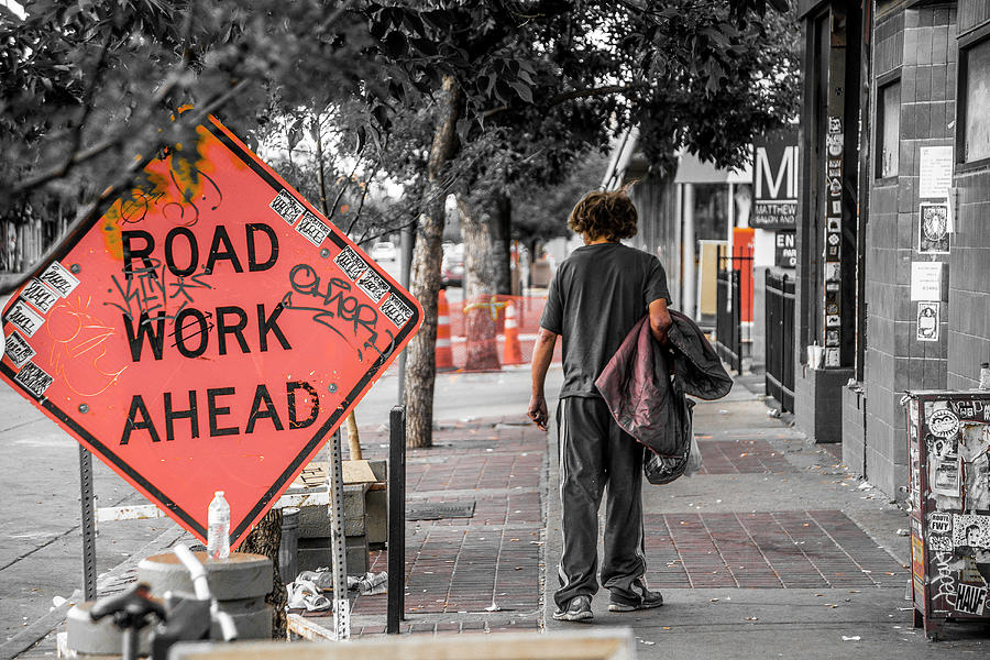 Color Splash Photograph - Road Work Ahead by Kyle Field