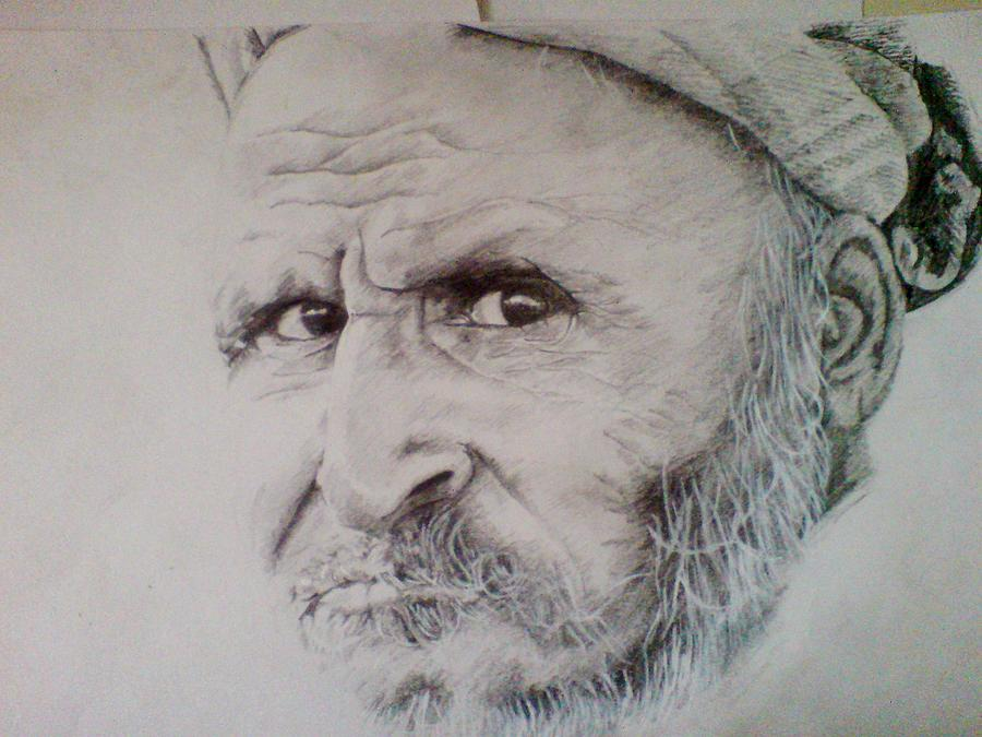 Pencil Drawing - Roadside Labourer by Vishal Mane