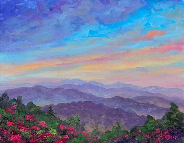 Roan Mountain Rhododendron Painting by Jeff Pittman