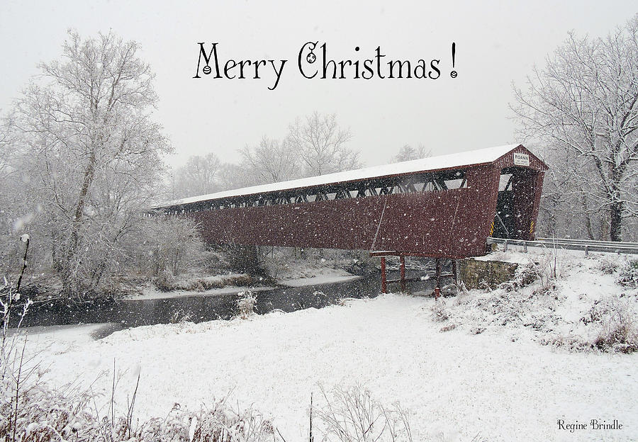 Covered Bridge Photograph - Roann Christmas by Regine Brindle