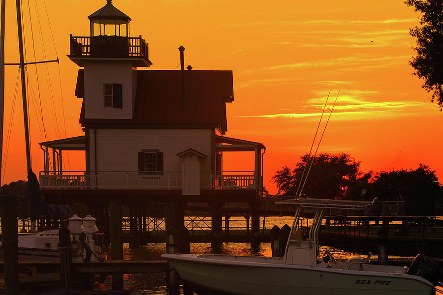 Roanoke River Lighthouse At Sunset Photograph