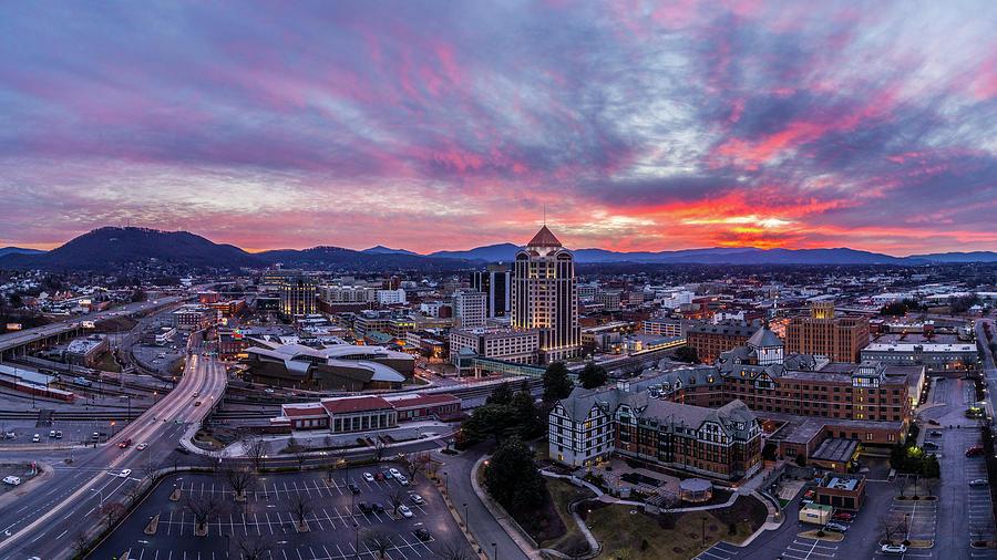 Roanoke Sunset Panoramic 2 by Star City SkyCams