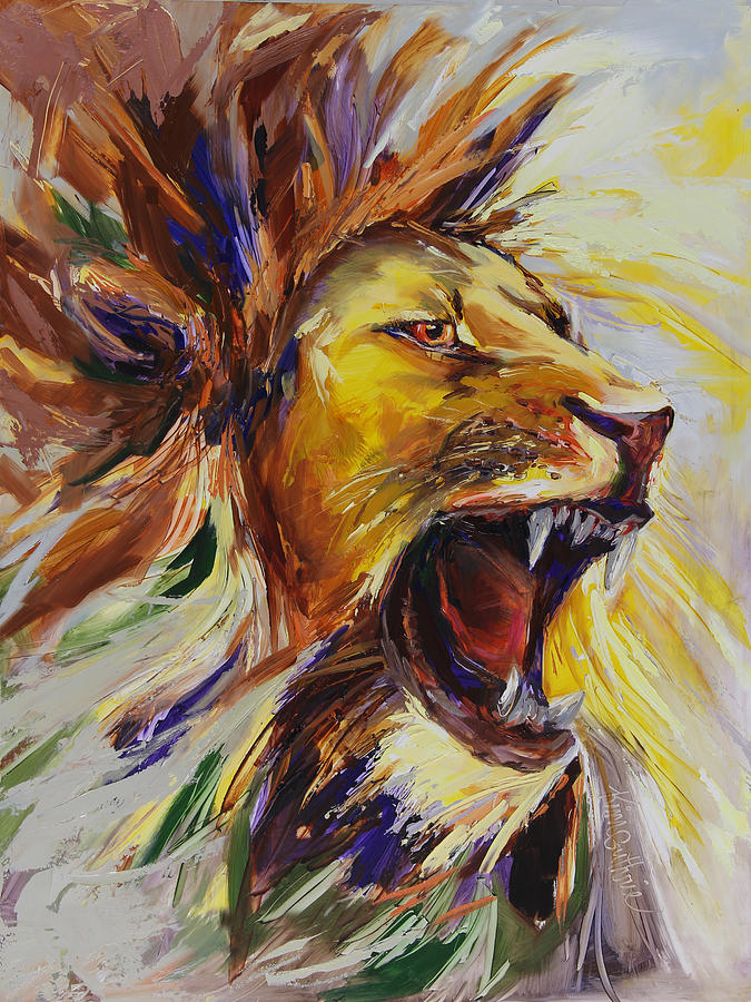 roar painting of a lion painting by kim guthrie