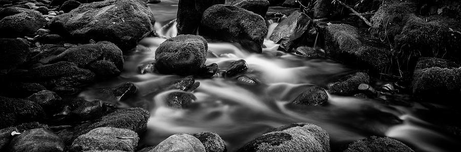 Roaring Fork Photograph - Roaring Fork Cascade - Bw by Stephen Stookey
