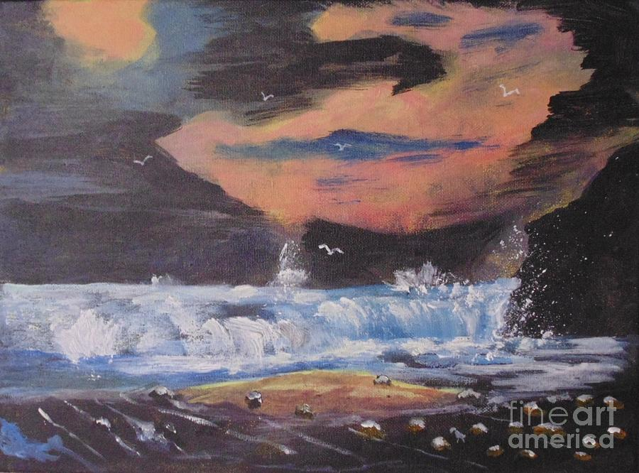 Red Painting - Roaring Seas by Joe Hagarty