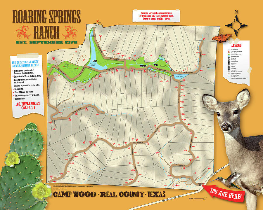 Roaring Springs Ranch Map by Susan Schroeder