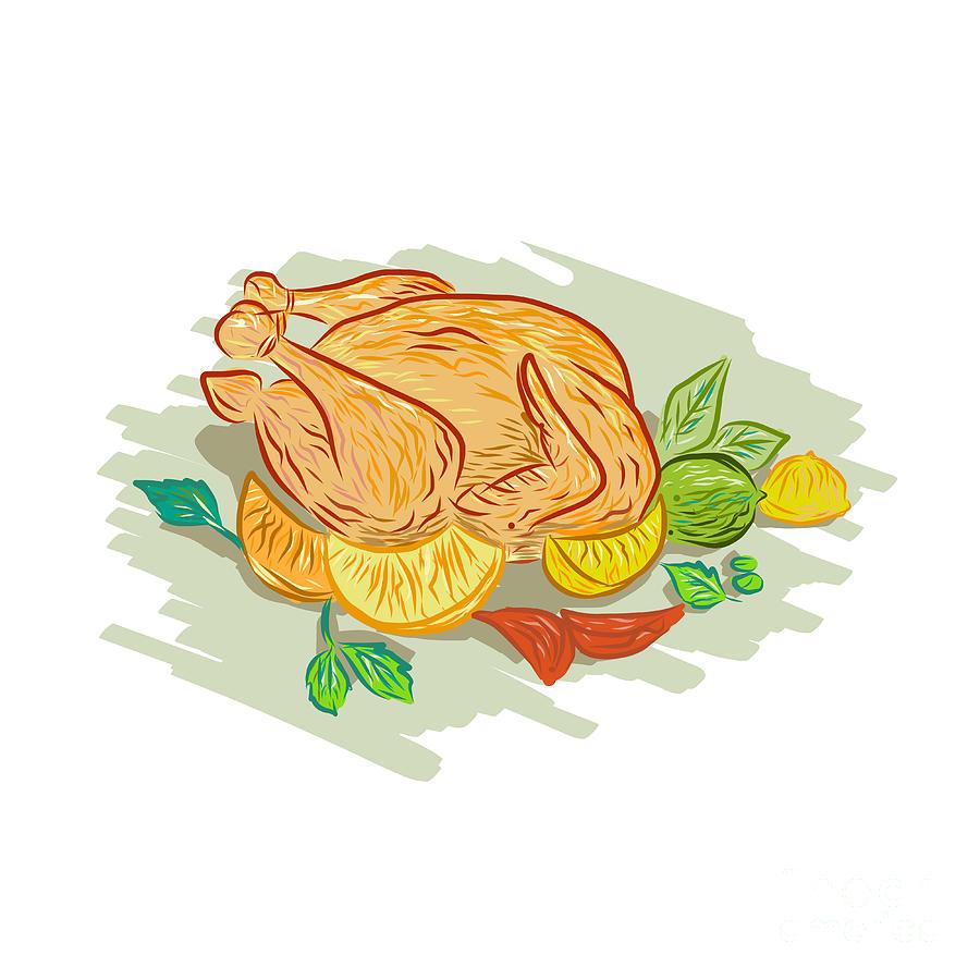 roast chicken vegetables drawing digital art by aloysius patrimonio