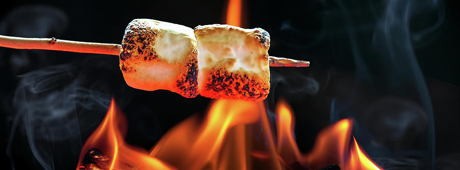 Roasting Marshmallows Over Campfire Horizontal Banner Photograph By