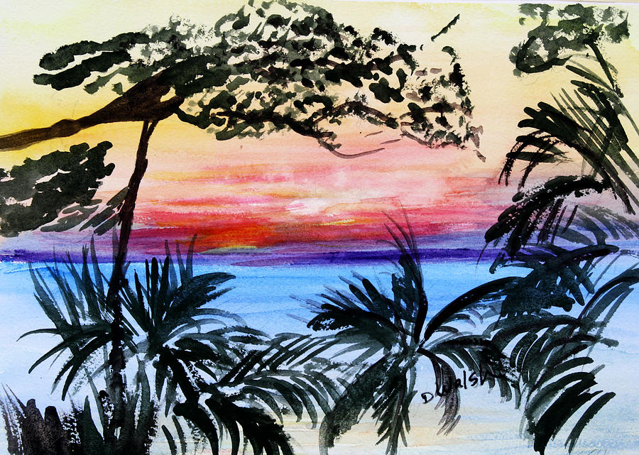 Tropical Painting - Roatan Sunset by Donna Walsh
