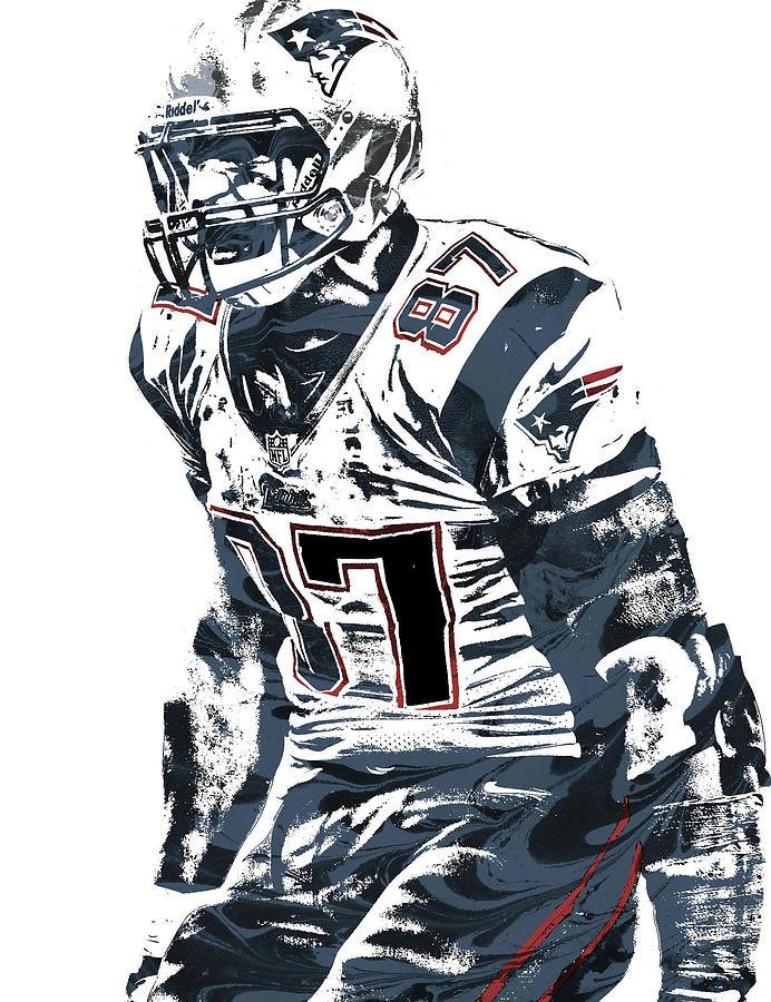 Rob Gronkowski Mixed Media - Rob Gronkowski New England Patriots Pixel Art 4 by Joe Hamilton