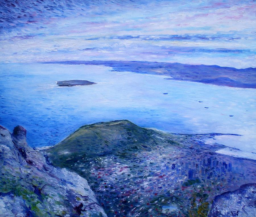 Robben Island Painting - Robben Island From Table Mountain Cape Town South Africa Dawn 2000  by Enver Larney