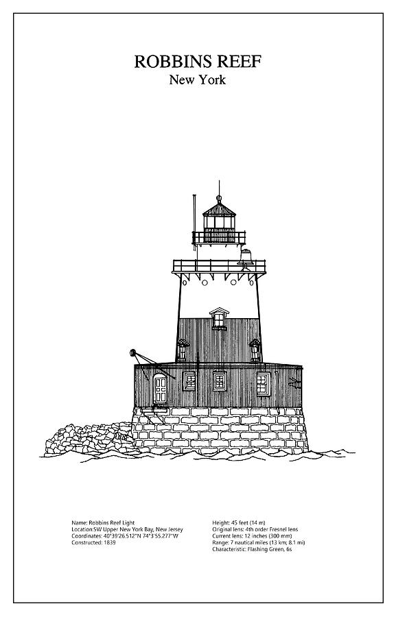 Robbins reef lighthouse new york blueprint drawing digital art robbins reef digital art robbins reef lighthouse new york blueprint drawing by jose malvernweather Image collections