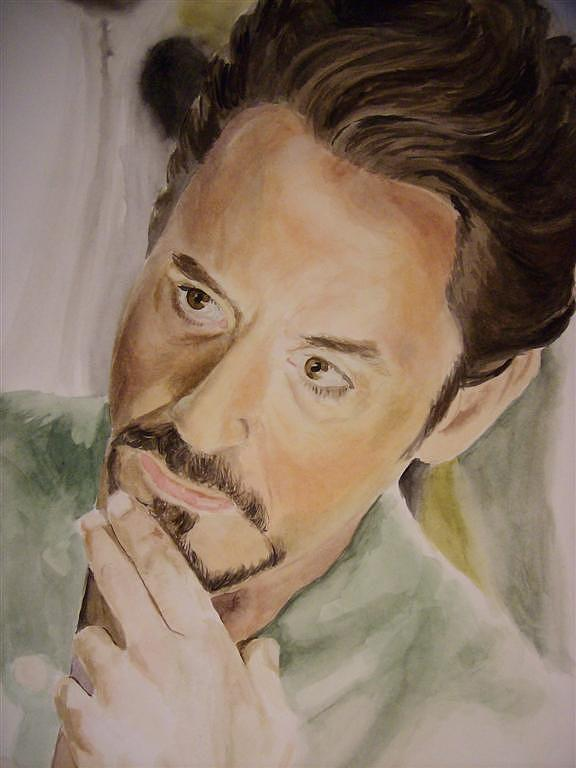 Robert Painting - Robert Downey Jr Iron Man by Angela Schwengler
