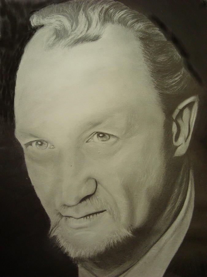 Pencil Portrait Drawing - Robert Englund by Maria Vero