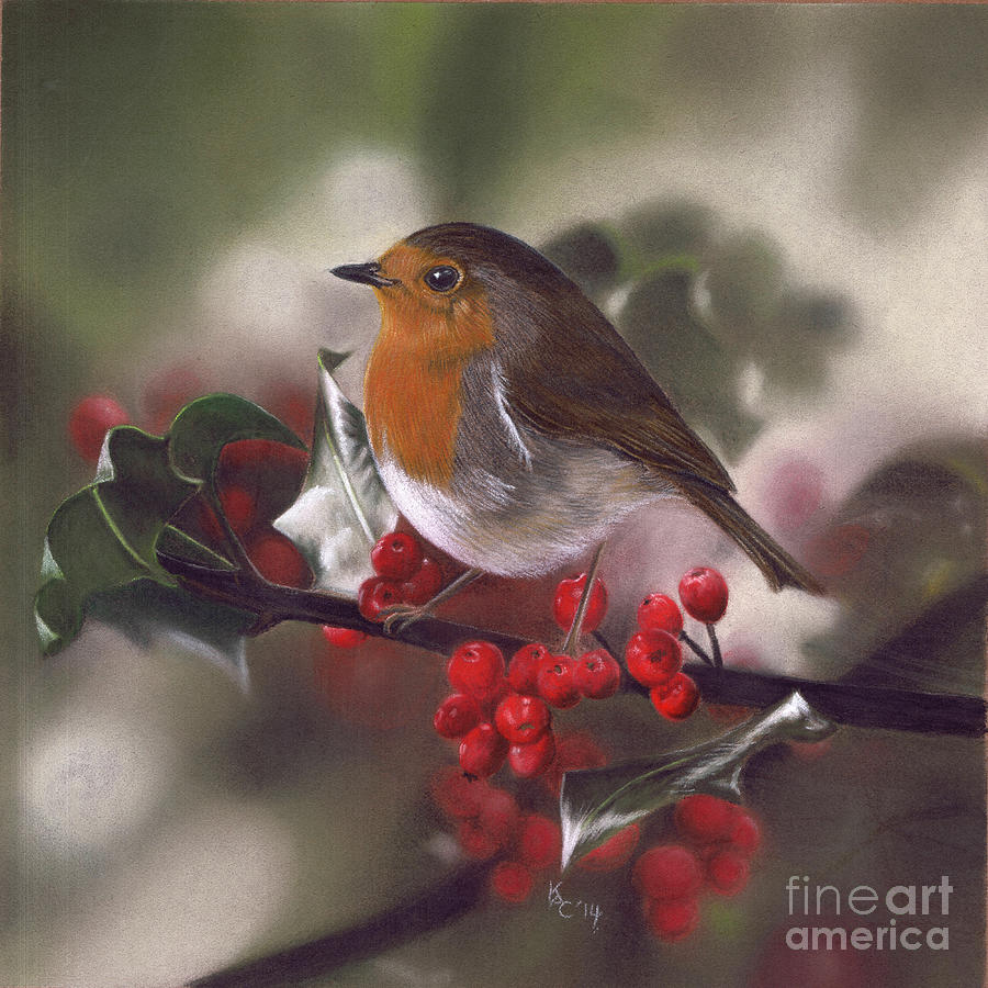 Robin and Berries by Karie-ann Cooper