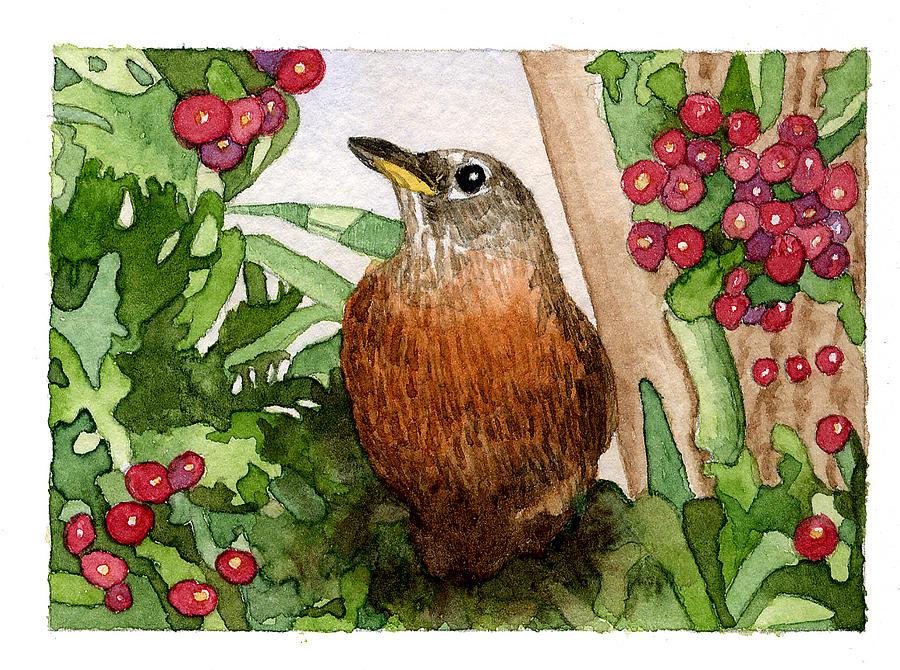 Bird Painting - Robin by Eunice Olson
