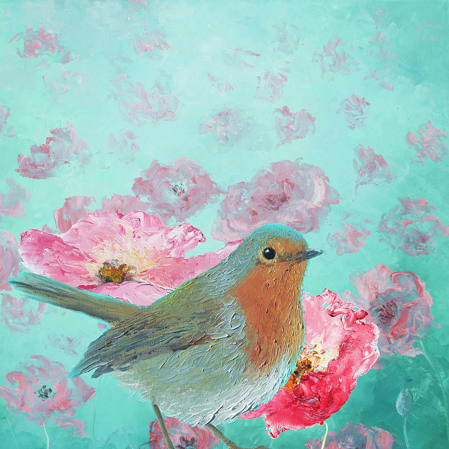 Robin Bird Painting - Robin in a field of poppies by Jan Matson