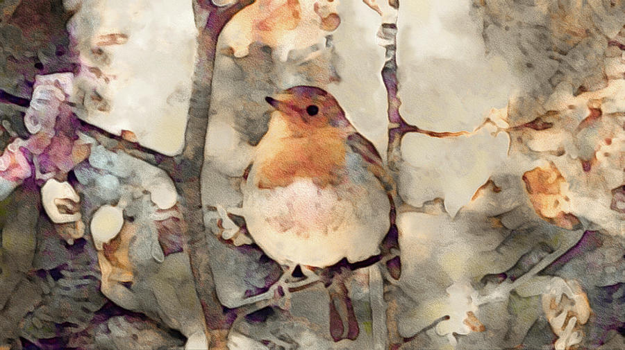 Bird On Branch Mixed Media - Robin Song Of Spring by Susan Maxwell Schmidt