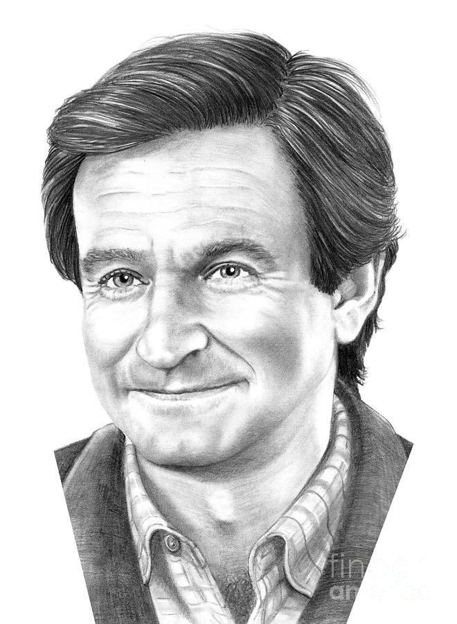 Pencil Drawing - Robin Williams by Murphy Elliott