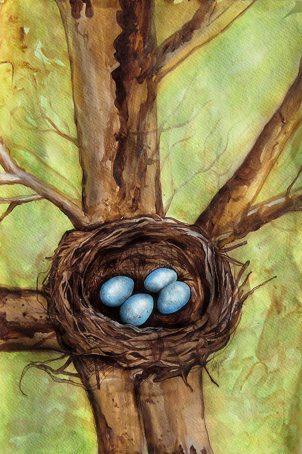Robin's Nest Painting - Robins Nest by Carrie Jackson