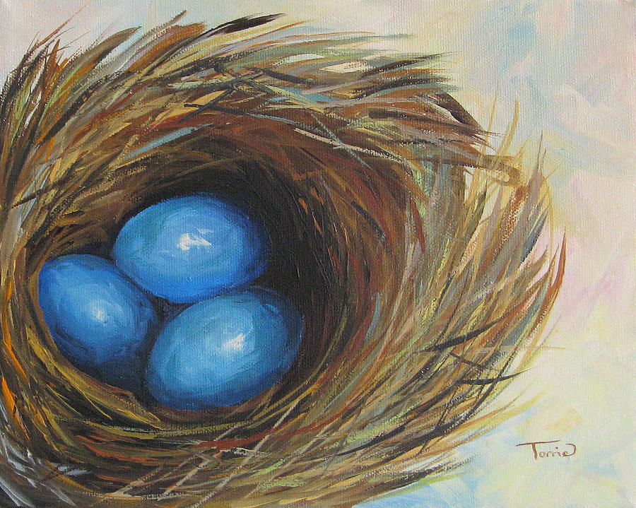 Egg Painting - Robins Three Eggs by Torrie Smiley