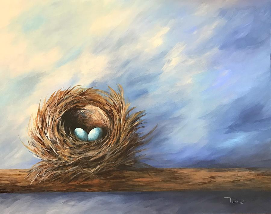 Nest Painting - Robins Two Eggs by Torrie Smiley