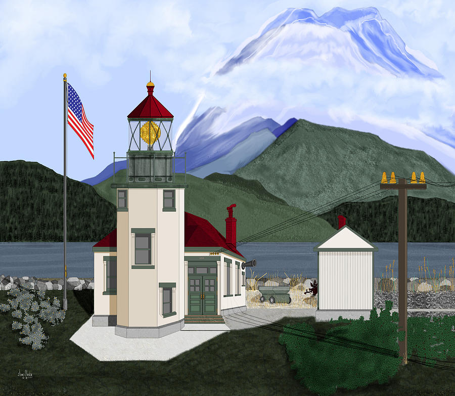 Point Robinson Lighthouse Painting - Robinson Point with Mount Rainier by Anne Norskog