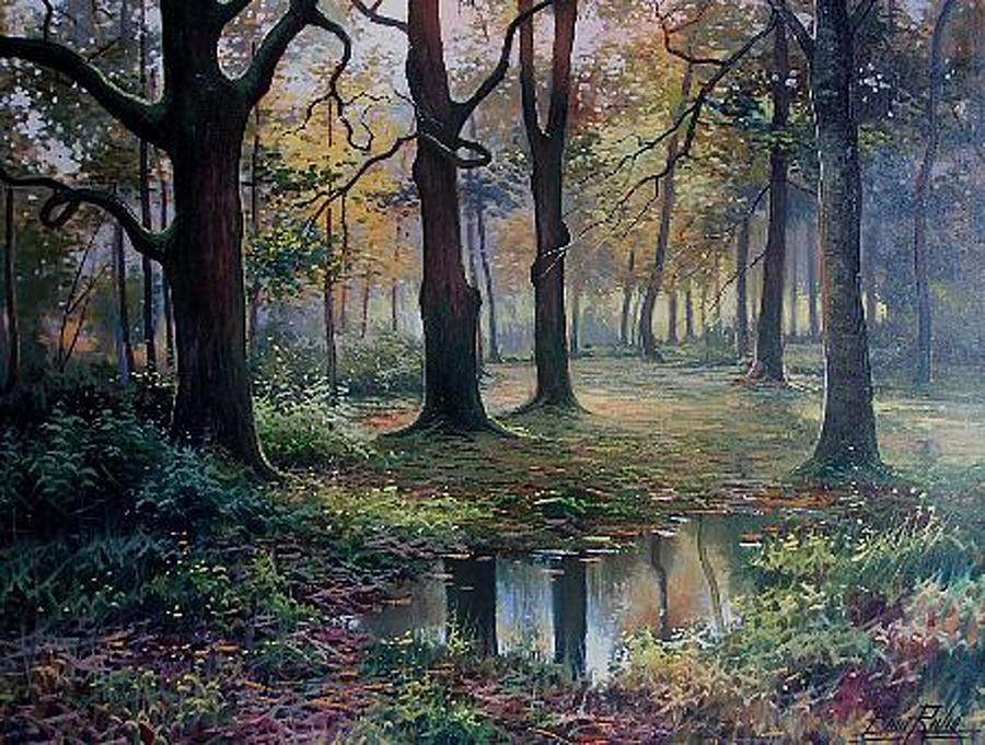 Landscape Painting - Robledar A Contraluz by Enric Rubio