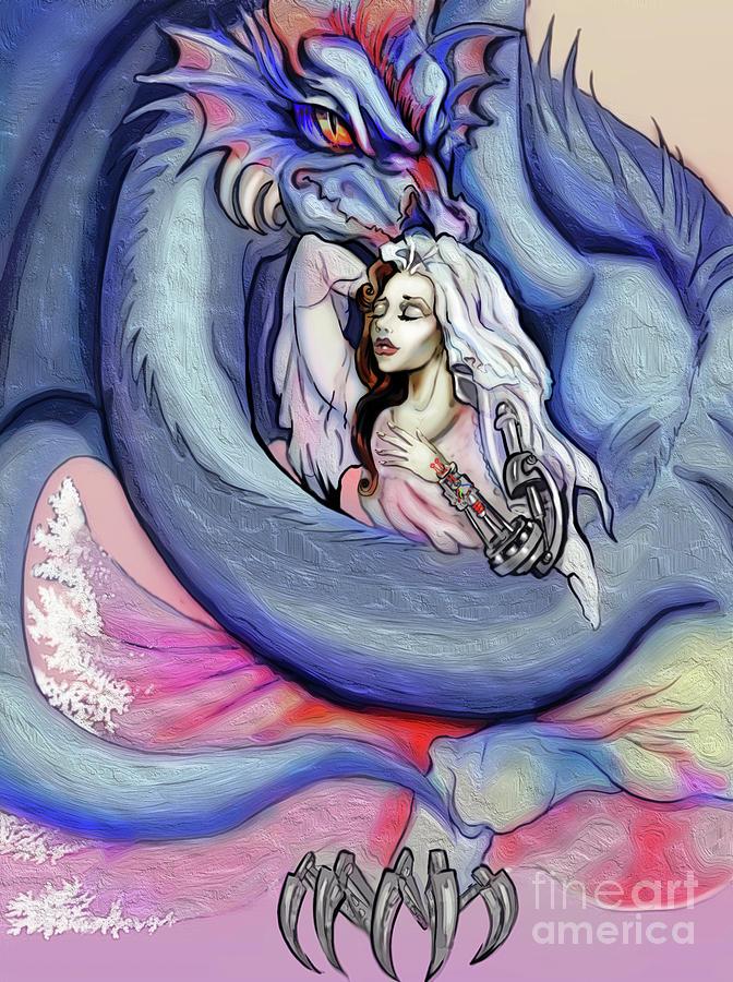 Robot Digital Art - Robot Dragon Lady by Merida Winters