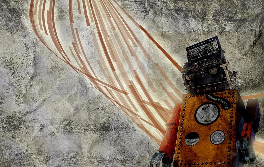 Robots Digital Art - Robot Love by Shawn Ross